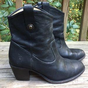 FRYE Black Leather block heel Boots-8-EC